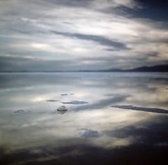 breathe. (manyfires) Tags: blue sunset west film mediumformat square utah poem grain salt hasselblad bonneville hasselblad500cm bonnevillesaltflats ahwell poetography istillreallylikeit toograinyreally butitstartedoutverydark