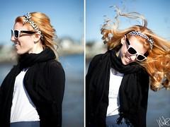 Beach in the Winter (Wendy Nelson Photography.) Tags: ocean winter summer portrait motion beach girl hair photography fly spring model warm pretty candid 85mm sunny redhair wnp canon5dmarkii