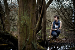 (Nathan O'Nions) Tags: trees portrait lake water leaves female woodland dark landscape 50mm pond woods looking atmosphere