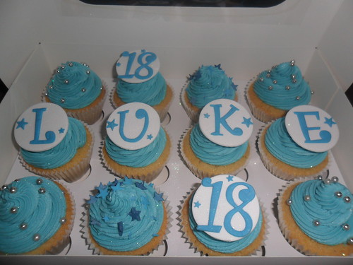 Blue 21st Boys Birthday Cupcakes