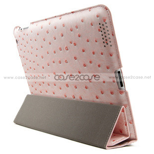 Ostrich Leather smart cover with back cover for ipad 2 IPAD 3 Pink