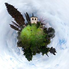Little house in the village -2 (amfipolos) Tags: house photoshop countryside village 360 sonycybershot σπίτι littlehouse polarcoordinates χωριό littleplanet polarpanorama stereographicprojection χωράφι