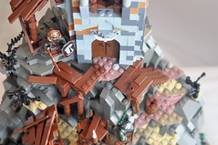 Troll tower & shanty town (CheesySlopes) Tags: mountain tower castle rock village lego fort knight troll fortress orc ork foitsop