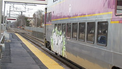 WHat?! Graffiti on an MBTA Bi-level? (Tcost105) Tags: trains amtrak mbta csx acelaexpress foxboroughma walpolema mansfieldma westwoodma amtrakregional csxb733 csxb732 csxb710