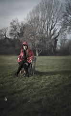 evil little red riding hood (RiccardoDelfanti) Tags: sunset portrait girl 50mm nikon tramonto bokeh milano meeting piemonte lombardia friuli veneto d90 igp
