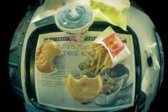 rock gut eats (dalevaniersel) Tags: beach lens rotgut mcdonalds fisheye cheeseburger portmelbourne smallcoke larking filletofish fakegrain smallfries rockgut