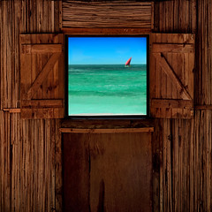 """Vista"" (helmet13) Tags: ocean wood summer holiday window sailboat raw simplicity tropical vista mauritius boathouse aoi windowshutter 200faves peaceaward heartaward world100f d300s platinumpeaceaward"