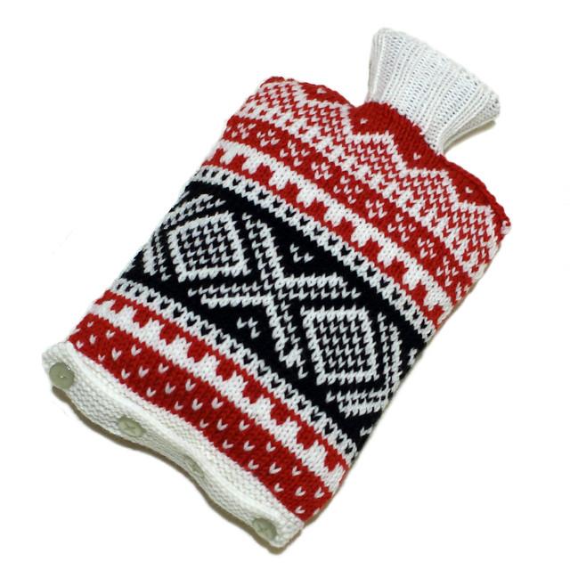 Hand knit Norwegian ski hot water bottle cover – black/white/red