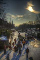 Frozen Winter Canals, Prinsengracht - Amsterdam - Netherlands (Stewart Leiwakabessy) Tags: canal water ice gabledhouses gabled houses tree trees car cars buildings boat boats people bike bikes gracht winter frozencanal frozencanals amsterdam stewart leiwakabessy stewartleiwakabessy man men woman women boy boys girl girls spectators watching friends family icefrolic holidayonice hdr highdynamicrange bracketed photomatix postprocessed