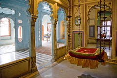 room inside city palace (AsianInsights) Tags: blue india room seat palace swing rajasthan udaipur