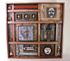 """bells & whistles"" (susarto) Tags: art philadelphia painting weird assemblage mixedmedia heads foundobjects artbox bellsandwhistles susanmoloney"