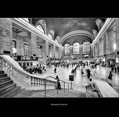 NYC Grand Central Terminal (Shobeir) Tags: life nyc newyorkcity people blackandwhite bw newyork blur architecture america subway movement manhattan ghost crowd landmark historic transportation centralstation midtownmanhattan historicalplace grandstation sigma1020 subwayterminal newyorkcentralstation shobeiransari