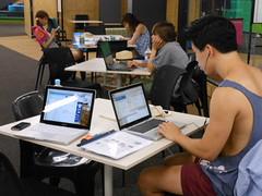 Laptop Study (mikecogh) Tags: modern design student laptop tanktop wireless laptops studying earphones singlet adelaideuniversity hubcentral