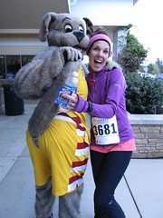 Her son is a big fan... (Moondog Mascot) Tags: 100k moondog cavaliers beechbrook 04222012 fleetfeetsports5k