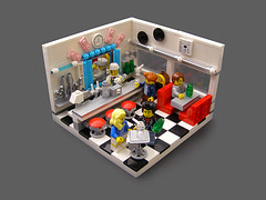 1950's Soda Shop (Legohaulic) Tags: lego retro 50s vignette sodashop ironbuilder