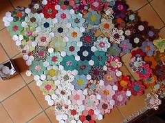 essai d'assemblage (viviane_adxvm) Tags: hexagons patchwork plaid hexagones jardindegrandmre
