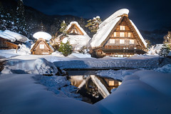 The Gassho Houses (arcreyes [-ratamahatta-]) Tags: blue winter sun white snow mountains ice japan night clouds landscape buried clear  lightup toyama gifu   hdr shirakawago gokayama gassho 3xp      gifuprefecture onodistrict agustinrafaelreyes
