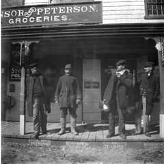 Winsor & Peterson Store with Men on Porch, Washington Street (Drew Archival Library) Tags: duxbury glassplatenegative facey wrightbuilding surplusstreet drewarchives