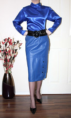 Blue Liquid satin Blouse and Leather Hobble Skirt (sheerglamour) Tags: leather fetish skirt blouse heels satin wiggle