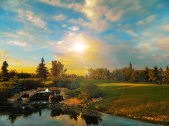 Fantastic Summer Evening on the Links (Explore # 142 March 14 2012) (LostMyHeadache: Absolutely Free *) Tags: trees sunset summer sky people reflection green nature water fountain grass clouds golf evening pond nikon day cloudy horizon explore flare 1001nights links carts davidsmith explored calgaryalbertacanada magicalskies
