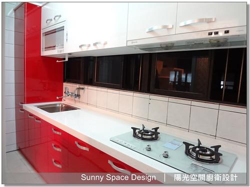 廚具工廠-隆義二路鄭先生5樓紅白配廚具-陽光空間廚衛設計03
