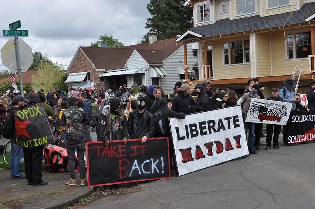 Black Bloc Barricades the Block