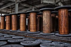 wooden spools (Forsaken Fotos) Tags: mill silk