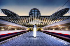 Lige Guillemins Station / Enter in the Spaceship (Lige) (JD Photographie.) Tags: longexposure railroad travel santiago light sunset art monument colors lines station architecture night digital train canon photography 1 julien interesting europa europe long exposure raw photographie view belgium belgique time gare top curves escalator first trains line explore trail trainstation 200 calatrava rails timeline faves 100 jd curve liege dri franais hdr luik tgv lige blending wallonie belge flyaway nd400 pertinent delaval 100faves guillemins 200faves 40d guillemin tgvstation abigfave 300faves ligeguillemins canon40d ligestation jdphotographie ligegare