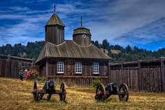 Russian Orthodox Chapel & Cannons (sierrasylvan) Tags: california church canon sonomacounty canoneosrebelxt thegalaxy canonefs1855mmf3556lens photosandcalendar russianorthodoxchapel mygearandme flickrstruereflection1 rememberthatmomentlevel1 flickrsfinestimages1 fortrossstatehistoricalpark me2youphotographylevel2 me2youphotographylevel3 me2youphotographylevel1