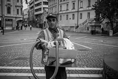 GarbageMan (_jostro_) Tags: street blackandwhite bw garbage clean ljubljana garbageman