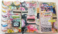 The Documented Life Project Week 17 (Roben-Marie) Tags: moleskine calendar painted journal planner rubberstamping layered doodled robenmarie moleskineplanner arttothe5th