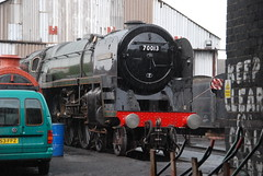 Cromwell getting wet (Sam Tait) Tags: rain shower br oliver great central engine rail railway loco steam april british locomotive preserved cromwell gcr 70013