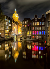 Red Light Nights (Pat Charles) Tags: longexposure windows holland reflection church window water netherlands amsterdam architecture night reflections river evening canal nikon europe nocturnal cathedral tripod reflected 1001nights 1001nightsmagiccity