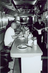 Jack's at 6 AM (Stephen Hilton) Tags: bw blackwhite diner fp4 canonetgiiiql17