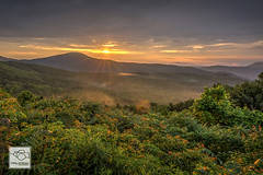 Sunrise at Brown Mountain (cathyandersonphoto) Tags: fog sunrise hawksbill blueridgemountains linvillegorge tablerock pisgahnationalforest brownmountain brownmountainlights valleyfog tablerockmountain hawksbillmountain