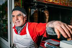 Paris, France (ZTarek) Tags: street red portrait man paris france green smile fuji candid flash streetphotography flashphotography fujifilm rue kebab streetshot streetphotographer streeshot x100t