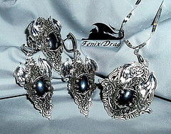 """Set (pendant, earring, ring), """"Ice dragon. Gothic"""" with black stone Steampunk, Gothic, Victorian, Vintage style jewelry (fenixdrag) Tags: vintage necklace handmade ring pendant naturalstone filigree longearrings handmadejewelry vintagejewelry vintagependant victorianjewelry gothicjewelry handmadependant earringshandmade creativeearrings steampunkjewelry victorianearrings gothicearrings steampunkpendant filigreependant steampunkring victorianpendant ringssilver gothicpendant gothicring earringsfiligree earringssteampunk ringsdragon"""