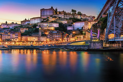 Porto, Portugal (Zimeoni) Tags: porto portugal river city cityscape long exposure silky water night sunset bridge old town travel