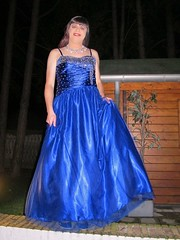 Blue ball gown (Paula Satijn) Tags: blue girl lady happy shiny dress joy silk skirt tgirl gown satin gurl ballgown