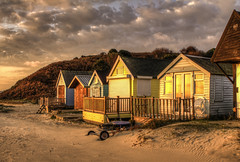 Beach Huts at Dawn (Nick L) Tags: uk sea beach landscape hut dorset beachhut hdr hengistbury mudeford hengistburyhead tonemapped tonemapping tonemap mudefordbeachhuts