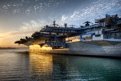 Glowing Midway (Justin in SD) Tags: light sunset sun port canon highresolution war sandiego aircraft military vessel aircraftcarrier midway usnavy uss carrier hdr sandiegobay ussmidway navyship highquality canon60d