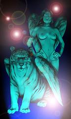 blue angel warrior by jackie rabbit (Jackie rabbit Tattoos) Tags: art tattoo angel nude design virginia wings tiger flash roanoke warrior powerful starcity jackierabbit