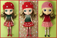 New dollily sets for Blythe :) (*Pppilottchen aka dollily*) Tags: pink red green rot rock mushrooms top rosa skirt blythe etsy knitted blume sets fliegenpilze blmchen gestrickt oberteil grm flyagarics dollsfashion fliepi puppenmode dollily