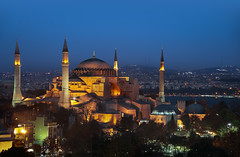 Hagia Sophia - (Istanbul, Turkey) (blame_the_monkey) Tags: travel architecture night turkey minaret istanbul mosque bluehour hagiasophia byzantine ayasofya aghiasophia holywisdom