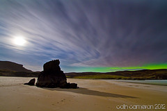 Aurora glow (Colin Cameron ~ Photography ~) Tags: longexposure green scotland colours moonlight glowing northernlights seastacks tolsta garrybeach auroraborialis colincameron canon7d tamron1024mm blinkagain