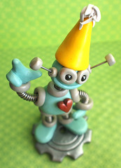 1st First Birthday Robot Cake Topper Miniature Sculpture (HerArtSheLoves) Tags: birthday blue fiction sculpture hat yellow cake robot mixed media 1st handmade ooak gear science pale clay topper polymer coiledwire