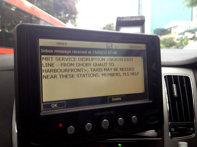 Message broadcast to ComfortDelgro taxis about SBS Transits NORTH EAST LINE train service disruption, March 15, 2012