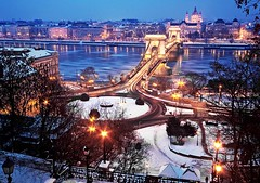 Budapest at winter (Botond Horvth) Tags: city bridge blue winter snow frozen hungary budapest landmark chain hour duna danube hungarian
