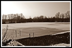 the lake froze over (piinklady) Tags: lake snow ice water frozenlake