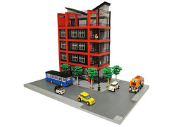 Vee Building (brickapolis) Tags: road roof urban building architecture design town mixed lego contemporary cc deck condo commercial use vee roofdeck residential mixeduse vshaped cafecorner flextube quarterinchequalsfootscale
